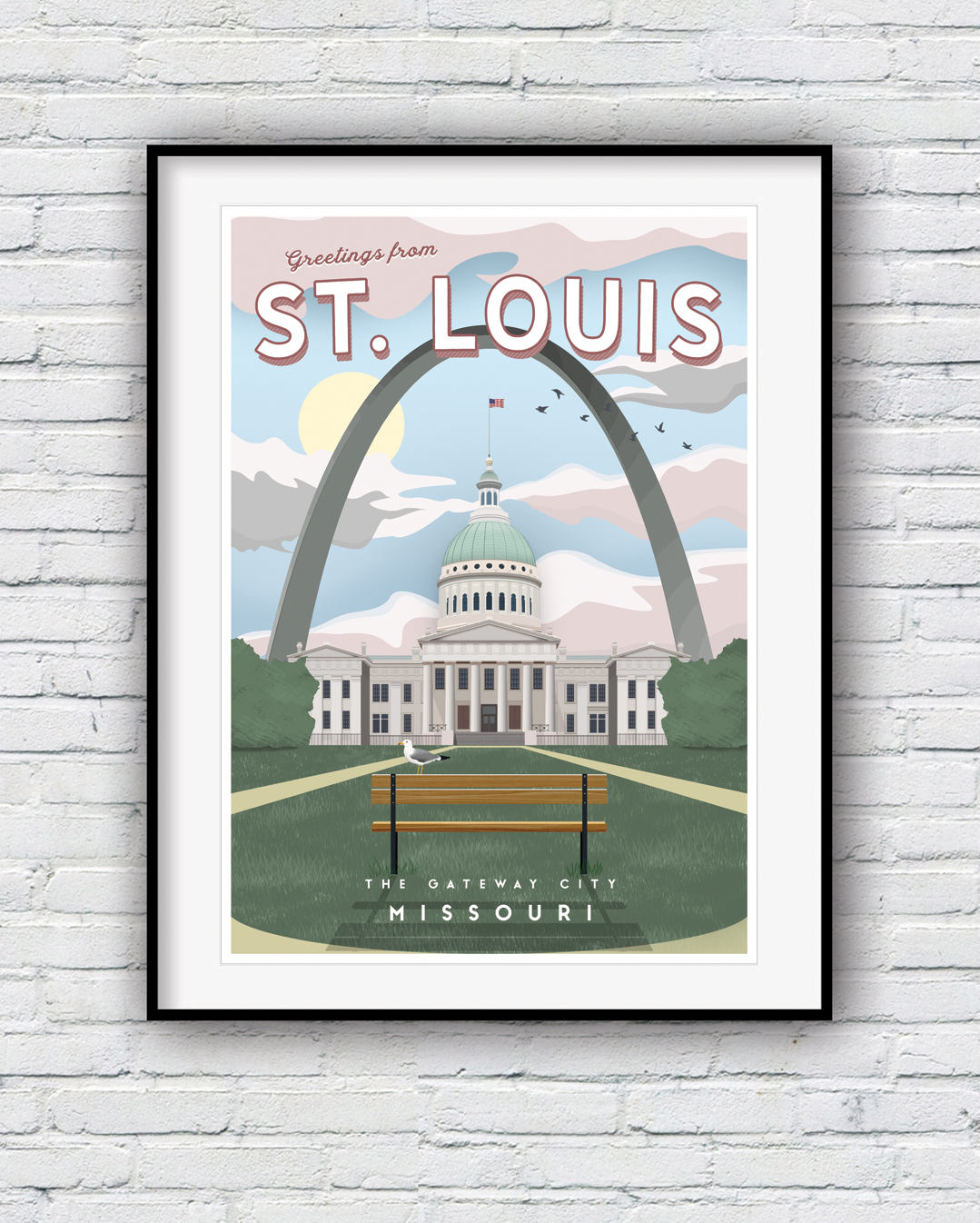 St Louis Poster Gateway Arch St Louis Skyline Travel