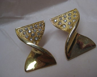 Bow Rhinestone Earrings Gold Clear Pierced Post Vintage