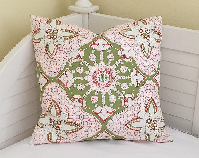 Quadrille China Seas New Batik in Green and Melon Designer Pillow Cover, 20 x 20