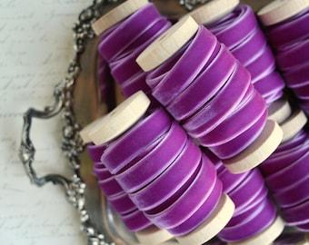 """Orchid Velvet Ribbon, Purple Velvet Ribbon, Plum Velvet Ribbon, 3/8"""" Velvet Ribbon, Velvet Ribbon Spool, 3 yards, Orchid Wedding"""
