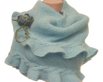 Powder Blue, Cable Knit Ruffled Shawl, Woman Scarf, Hand Knit, Wool, Mohair, Crochet Flower, Express Cargo