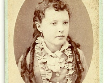 Beautiful young girl with ringlet curls hair Victorian cdv antique photo Tripp Coldwater Michigan