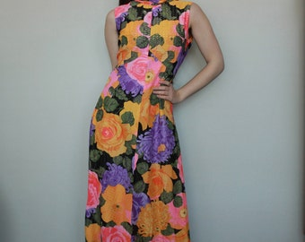 Vintage 70s Colorful Floral High Neck Maxi Dress