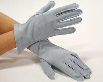 Vintage Ladies Blue Gloves / Short Dress Gloves Steel Blue with Wrist Accent - Size Small - Mid Century - 1950's Gloves