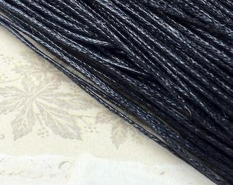 1 mm Black Colour Waxed Cotton Cord (.mcc)