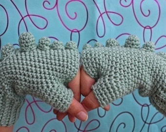 PATTERN - Rawr Fingerless Gloves - Free International Shipping