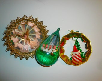 Vintage Christmas Diorama Oranments Jewel Brite Plastic Set Mid Century Oranments by VintageReinvented