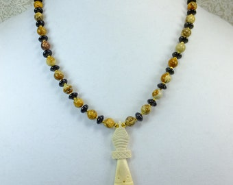 Carved Bone African Figure Pendant on a Picture Jasper Stone Beaded Necklace