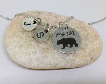 Mother's Day Gift, Mama Bear Necklace, Mama Bear initial Necklace, Personalized Mama Bear Jewelry, Gift for Mom
