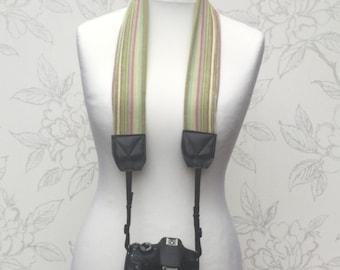 Pashmina Camera Scarf Strap, DSLR Scarf Strap, Green Striped Scarf Strap, Photographer Gift, Camera Accessory