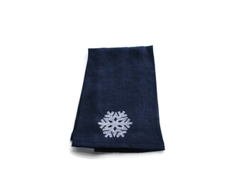 Embroidered Linen Dish Towel Snowflake  Indigo Blue Kitchen Towel Guest Towel Tea Towel Hand Towel