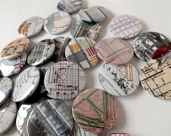 Stitched Recycled Vintage Architecture Journal Badges, Embroidered Abstract Patterns. Designs 1 - 8