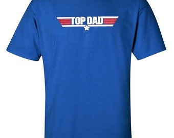 Top Dad New Father T-Shirt Father's Day Funny Birthday Gift Idea - royal blue / white and red