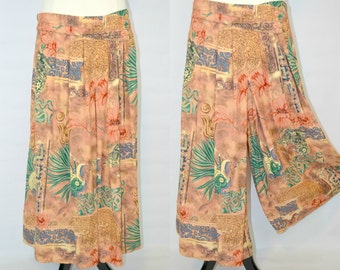 1980s Orange, Green, Purple and Red Southwestern Novelty Print Culottes by Divina of Switzerland