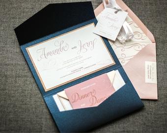 "Navy and Rose Gold Wedding Invitations, Blush and Navy Invitation, Custom Printed Invitation Set - ""Modern Swirl & Flourish"" PF-1L-v1 SAMPLE"