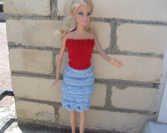 Barbie skirt blue and red top clothing