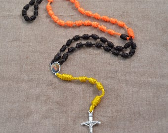 Holy Family Brown, Yellow, and Orange Regular Rope Rosary with Metal Cross and Pendent