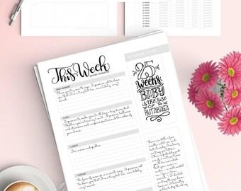 Pregnancy Journal (45 pages) - Letter size - Printable - Hand lettered details