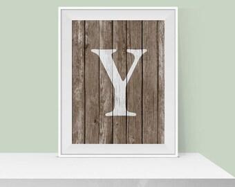 Letter Y Print - Rustic Letter Print - Home Decor - Monogram Art - Printable Wall Art - Wall Decor - Wall Art - Letter Print - Gift Idea