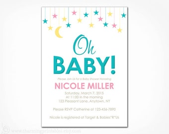 Oh Baby Invitation for Baby Shower - PRINTABLE Invite for Gender Neutral Boy or Girl - Twinkle Little Star Moon