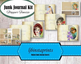 Flapper Junk Journal Kit, Junk Journal Supply, Journal Kit, DIY Junk Journal Kit, Flapper Junk Journal Kit, Instant Download