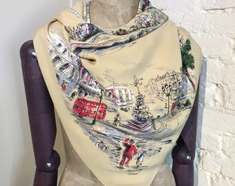 1950s London, England Tourist, Souvenir, Holiday Novelty Scarf