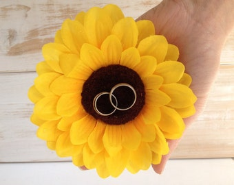Wedding Ring Pillow Sunflower Wedding Ring Holder Ring Bearer Rustic wedding
