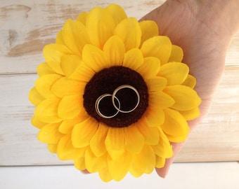 Sunflower Ring Pillow Alternative Ring Holder Ring Bearer Wedding Rings Rustic Wedding pillow