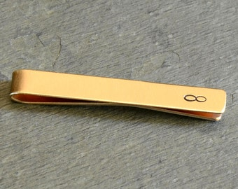 Infinity Tie Bar in Brass for Never Ending Love and Stylish Personalization - TB579