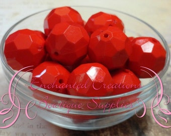 20mm Solid Red Hexagon Beads 10pcs, Chunky Beads, Bubblegum Beads, Gumball Beads, Dark Blue Faceted Beads, Hexagon Beads