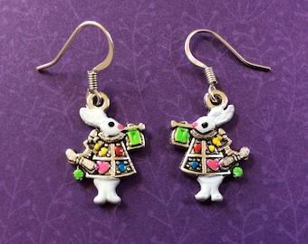ALICE in WONDERLAND earrings. White Rabbit earrings. Easter bunny earrings.  Bunny earrings. Hand Painted rabbit earrings. Goth jewelry