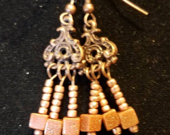 """CLEARANCE - 1.25"""" Sandstone and Copper Earrings"""