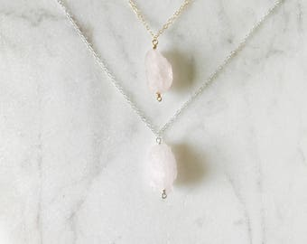 Gift For Her - The Rose Quartz Necklace - Raw Crystal Necklace - Rough Cut Stone - Christmas Gift For Her - Simple Boho Necklace