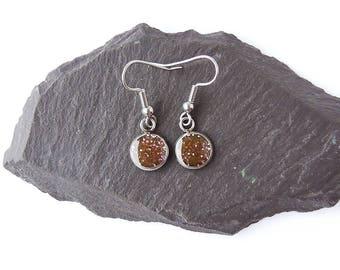 Little Glitter Earrings on Surgical Steel Earwires, Brown Glitter Resin Earrings, Glitter Jewellery, Resin Jewellery, UK Seller
