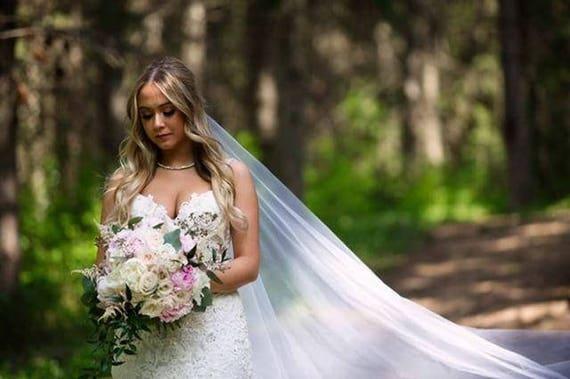 Wedding Veil, Bridal Veil, Cathedral Veil, Drop Veil, Handmade, Bride, Accessory, White Veil, Ivory Veil, Pink Veil, Black Veil, Long Veil