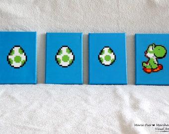Acrylic painting Nintendo Yoshi and eggs