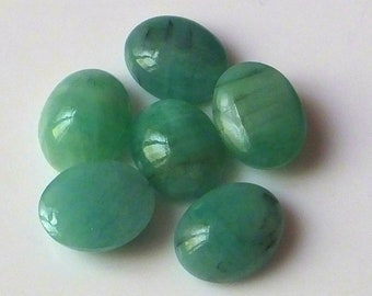 6 Pieces 10X8 MM Oval Shape Natural Brazilian Green Emerald Cabochon Cut Calibrated Gemstone Wholesale Lot 8X10 MM Oval Cabs Stone