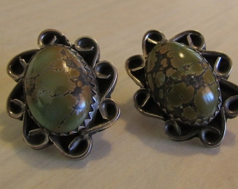 Sterling Silver and Green Turquoise Post Earrings