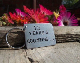10 Years and Counting 10th Anniversary 10 Year Tin Aluminium Keyring Keychain Ten Gifts for Men Him Tenth Husband Wife Romantic FREE POST