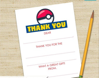 Pokemon Thank You Cards, Pokemon Party, Fill In Cards, Birthday Card, Kids Thank You Cards, DIY PRINTABLE, Children's Thank You Card