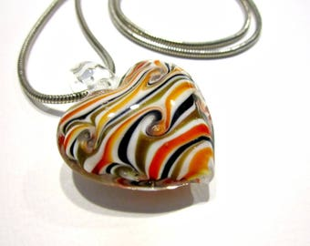 "Vintage Hand Made Glass Heart Necklace Long 24"" Gold Orange Black Swirling Heart Jewelry Gift Idea for Mom for Her Under 20"
