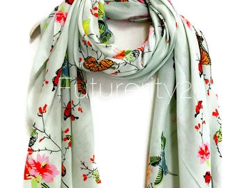 Hummingbird And Butterfly Light Green Scarf / Spring Summer Scarf / Autumn Scarf / Gifts For Her / Women Scarves / Handmade Accessories