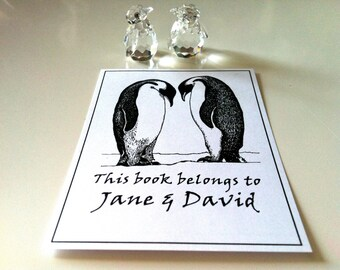 Ex Libris Penguins in Love Wedding Gift 25 Personalized Booklabels Bookplates