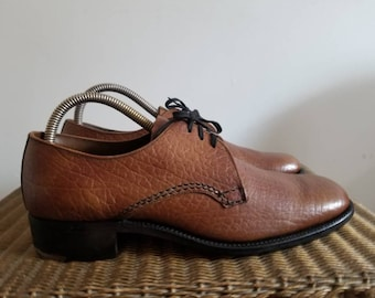 Mens Vintage 1970s Lace Up Leather Tan Palmerston Shoes 6.5