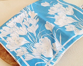 Vintage Vera Neumann Blue and White Tulip Flower Long Scarf 1960s