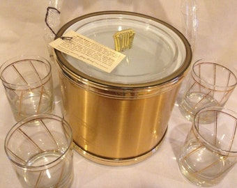 Georges Briard Ice Bucket and 4 Glasses- Never Used with Box 1980s