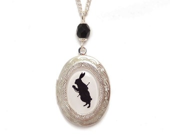 Alice in Wonderland necklace The late Rabbit cameo locket silhouette Victorian necklace