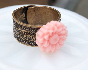 Sunflower Ring, Pink Flower & Copper Patterned Adjustable Ring, Retro Rose Boho Ring, Country Chic Flower Jewelry