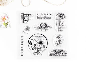 Clear Stamps - Summer, The Seasons Collection for Paper Crafts, Scrapbooking, Art Journaling, Stationery, Traveler's Notebook 4x4 in