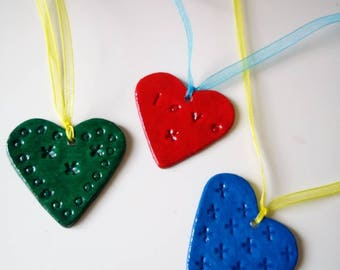Gift Tags. Clay, Lightweight. Hearts and Stars. Colours can be specified. Qty of 3.